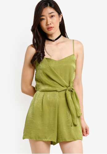 Miss Selfridge green Chartreuse Drape Camisole Playsuit MI665AA15PBWMY_1