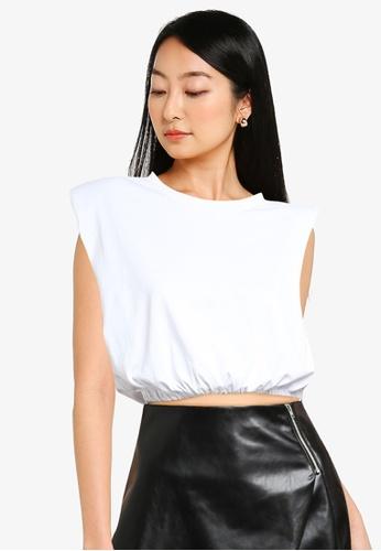 ZALORA BASICS white Shoulder Pad Crop T Shirt 378E6AAFA653EEGS_1