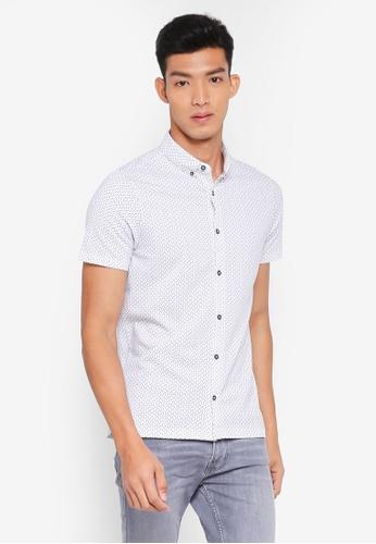 Burton Menswear London 白色 短袖印花襯衫 457CCAAC3BE348GS_1