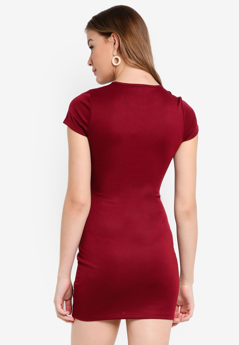 2 Dress Basic ZALORA Black Bodycon Burgundy BASICS pack Sleeves Short qTXxw5qrg