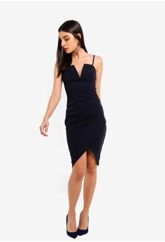 AX Paris Navy Notch Front Wrap Dress RM 199.00. Sizes 8 10 12 14 f2a00ef23