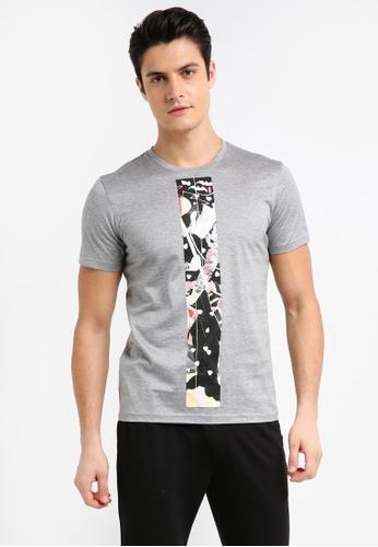 UniqTee 灰色 和風武士印花短袖T恤 AF725AA458879BGS_1