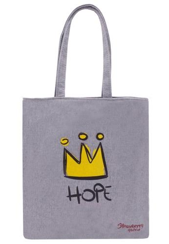 STRAWBERRY QUEEN grey Zipper Canvas Tote Bag (Grey X) 1A97BAC5421137GS_1