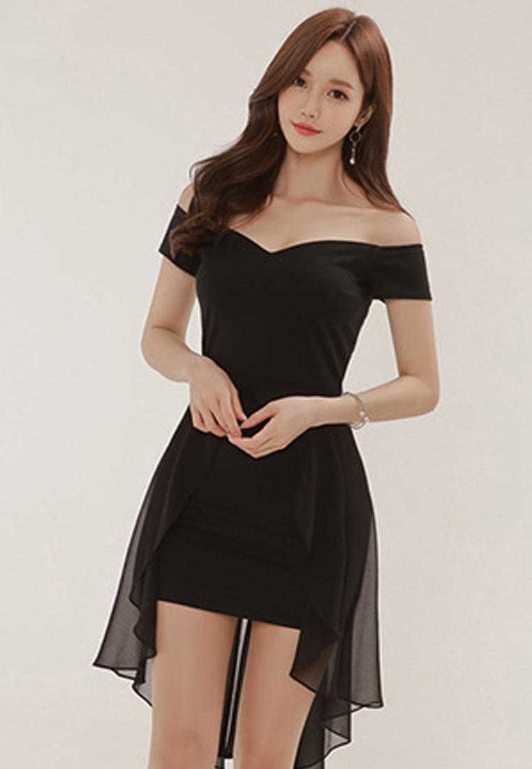 Piece Black 2018 Bodycon Sunnydaysweety Off Black A061235 Dress shoulder New One PPFqCxA
