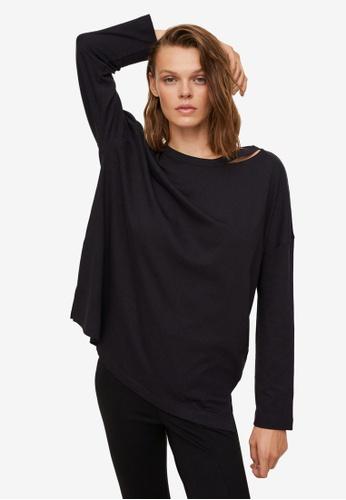 Mango black Long Sleeve Cotton T-Shirt ACFC7AA8F280DFGS_1