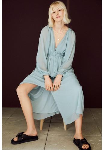 H&M turquoise Long chiffon dress 6F27FAA6A3B42BGS_1