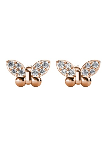 Her Jewellery gold Little Butterfly Pendant (Rose Gold) - Made with Premium grade crystals from Austria B4E6FAC29089BDGS_1