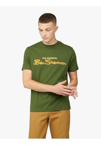 Ben Sherman green SIGNATURE FLOCK TEE 656E2AAA611719GS_1