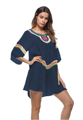 LYCKA blue LTH4027-European Style Beach Casual Outer Dress-Blue 1E758US6476069GS_1