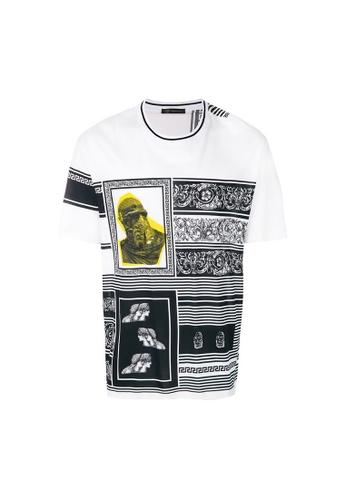 Versace white Versace  Medusa Logo Color Block Baroque Print  micro-Ribbed Neck With Contrast Stripe T-Shirt in Blanco-Nero-Oro 0E693AAECCF642GS_1