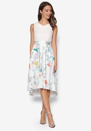 印花褶飾裙擺V 領洋裝, esprit 折扣韓系時尚, 梳妝