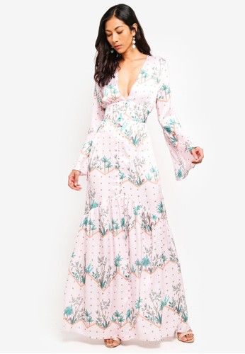 Glamorous pink and multi Printed Button Maxi Dress C2DDBAA84C1682GS_1