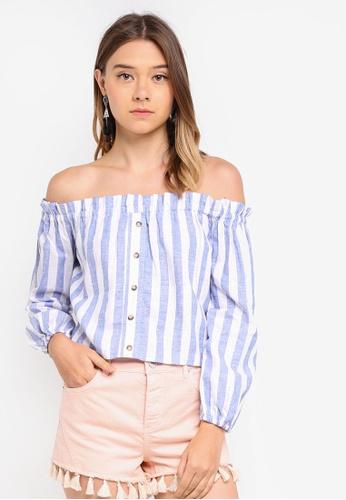 fc60442f814f54 Miss Selfridge blue Long Sleeve Stripe Bardot Top 03629AA3984403GS 1. CLICK  TO ZOOM