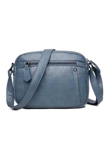 Lara blue Women's Leather Zipper Cross-body Bag - Blue 6F161AC9AABFA9GS_1