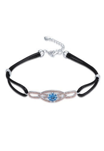 MBLife black 925 Sterling Silver Blue and Champagne CZ Eyes of Soul Black Leather Bracelet A9C4FACA319F5CGS_1