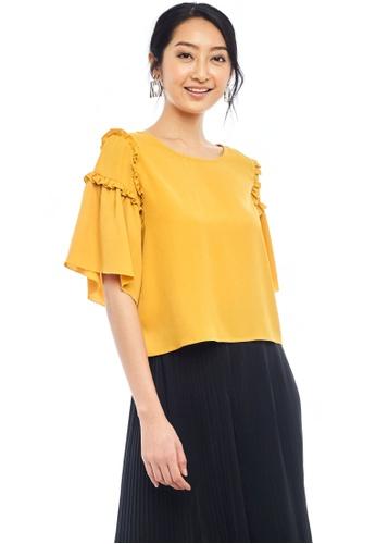 Nichii yellow Ruffled Bell Sleeve Blouse B89AEAA8F02DD8GS_1