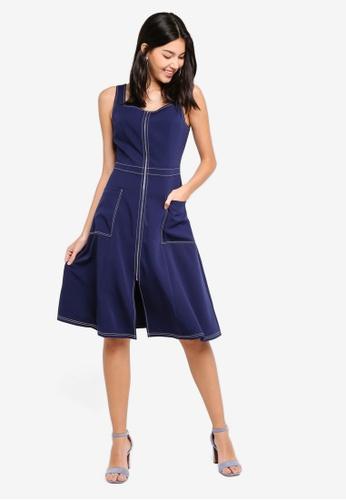 ZALORA navy Contrast Stitching Dress 9C305AA98A5CDDGS_1