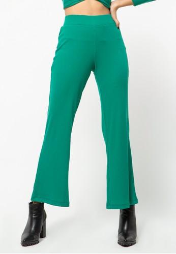 COLORBOX green Pallazo Rib Pants 47ABCAA2FF3405GS_1