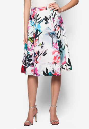 水彩zalora時尚購物網評價花卉傘擺及膝裙, 服飾, 服飾