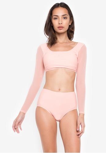 Kats Clothing pink Crop Top Mesh Screen Longsleeve High Waist Two Piece FLB099 AAE2AUSB50790FGS_1
