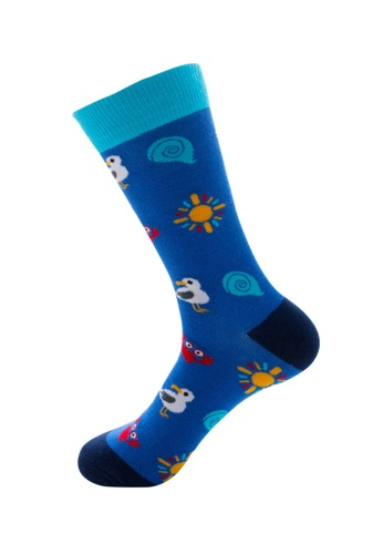Kings Collection blue Crab Pattern Cozy Socks (EU39-EU45) 20220AA4F9A6B0GS_1