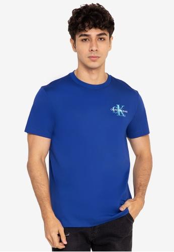 Calvin Klein multi Calvin Klein Jeans Mens Pixelate Monogram Short Sleeve Slim Tshirt 95CB8AA34D6820GS_1