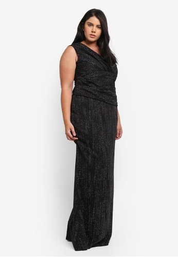 Goddiva black Plus Size Glitter Maxi Dress With Pleated Waist GO975AA0SSBRMY_1