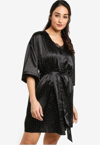 ZALORA BASICS multi Lounge Satin Kimono Gown 089E6AA9363B65GS_1