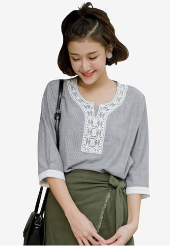 Tokichoi black Lace Striped Top 8E0E8AAB37816BGS_1