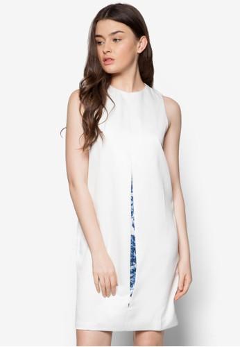 中開印花拼接連身裙, 服飾,zalora 心得 正式洋裝