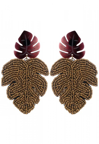 Style Cat white and brown and gold Style Cat Cancun Leaf Earrings ABC28AC22009D5GS_1