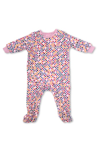 TeePeeTo pink and multi Polkadots Girl Romper With Footie 7EF46KA76EFB9AGS_1