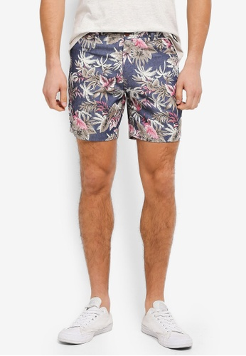 JAXON multi and navy Aloha Chino Shorts 65DE8AAD896D26GS_1