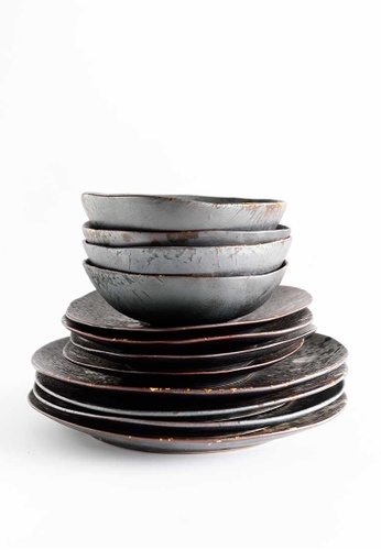 KRA Sanctuary grey Charcoal Grill Dinnerware Set of 6 424FAHL7604D21GS_1