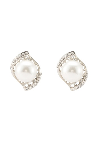 Dandelion silver Parallel Rhinestone Pearl Earrings B75B9ACF443E2CGS_1