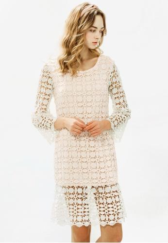 Sesura white Spring Blooms Lace Dress 1E345AA295E974GS_1