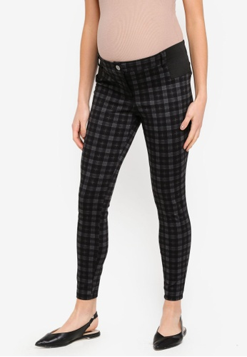 2c1bba1a450d81 Buy Dorothy Perkins Maternity Charcoal Checked Ponte Treggings | ZALORA HK