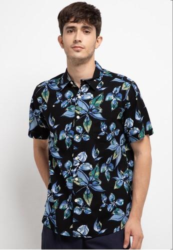 SHARKS black Floral Short-Sleeves Shirt E218BAA5106BDBGS_1
