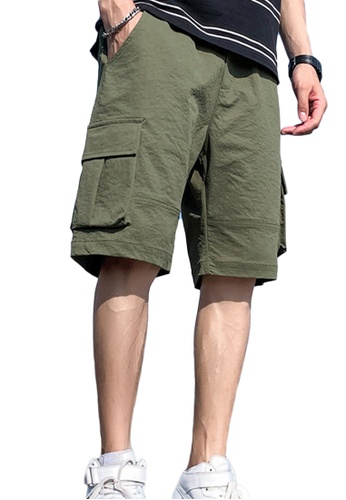 Sunnydaysweety green Casual Trend Loose Solid Color Cargo Shorts A21070502GR AA57BAA82EB466GS_1