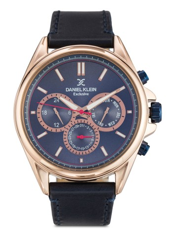 44mm DK112zalora 手錶 評價52-7 三顯示皮革錶帶圓錶, 錶類, 飾品配件