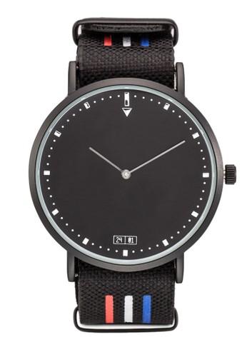 海esprit tst軍風條紋圓框手錶, 錶類, 飾品配件
