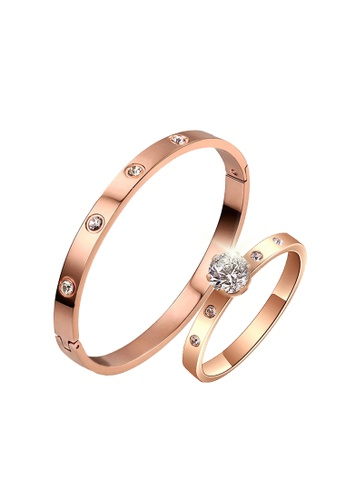 CELOVIS gold CELOVIS - Wanderlust Bangle Paired with Arwen Ring Jewellery Set in Rose Gold D7CE5AC983CA6BGS_1