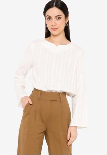 ZALIA BASICS white Textured Blouse 41722AAD81B4AFGS_1