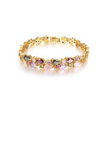 Glamorousky multi Elegant Brilliant Plated Gold Water Drop-shaped Colorful Cubic Zirconia Bracelet 992E2ACCB3024DGS_1