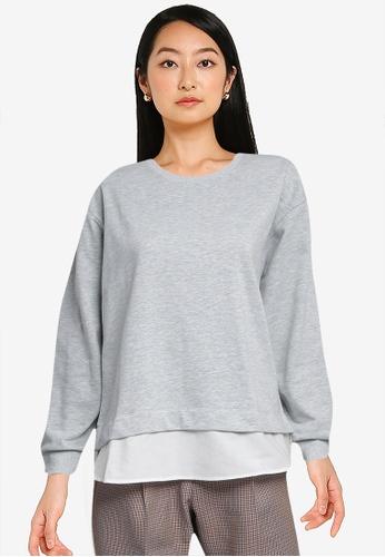 LOWRYS FARM grey Combined Pullover Sweatshirt 811F6AAB01D6DDGS_1
