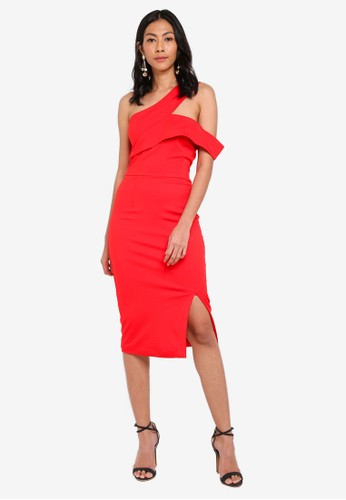 Lavish Alice red One Shoulder Detail Midi Dress C9B4CAA9571653GS_1