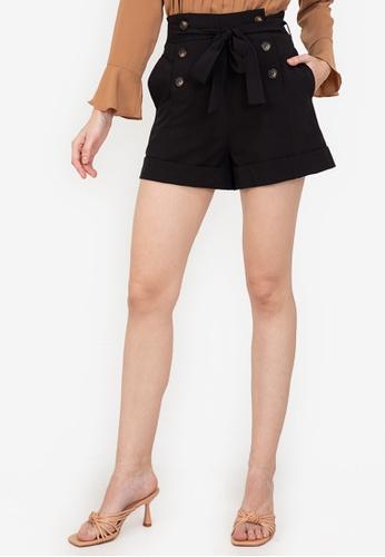 ZALORA WORK black Paperbag Shorts 62E52AA57CEAEAGS_1