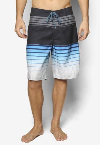 漸層條紋休閒沙灘短zalora 鞋評價褲, 服飾, 運動