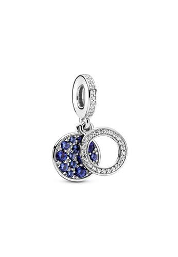 PANDORA silver Pandora Sparkling Blue Disc Double Dangle Charm 9CA3DACFDBC863GS_1