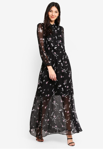 22fe7757aed8e5 Buy Liquorish Long Sleeves Black Maxi Dress Online on ZALORA Singapore